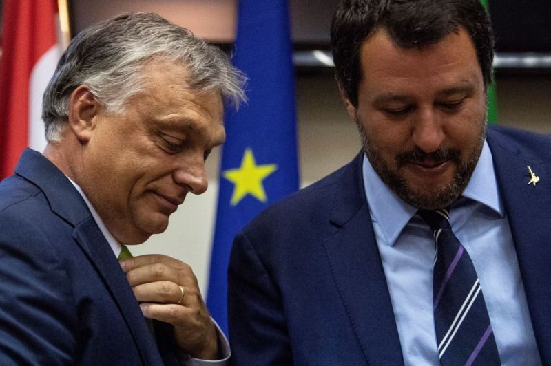 Italy's Interior Minister Matteo Salvini stands with Hungary's Prime Minister Viktor Orban at a press conference following a meeting in Milan on Aug. 28, 2018.