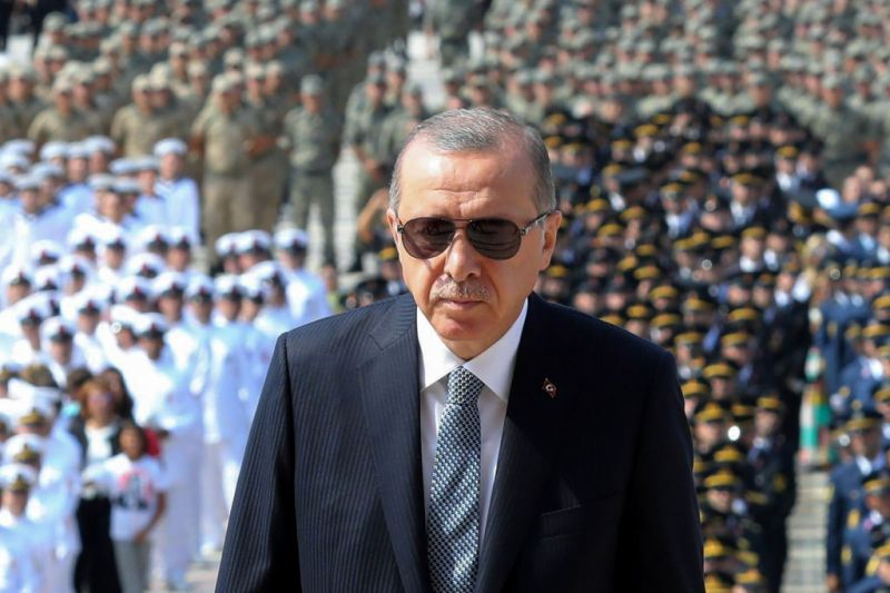 Turkish President Recep Tayyip Erdogan visits the Mausoleum of Mustafa Kemal Ataturk, founder of modern Turkey, during a ceremony marking the 96th anniversary of Victory Day, commemorating a decisive battle in the Turkish War of Independence, in Ankara, on Aug. 30, 2018.