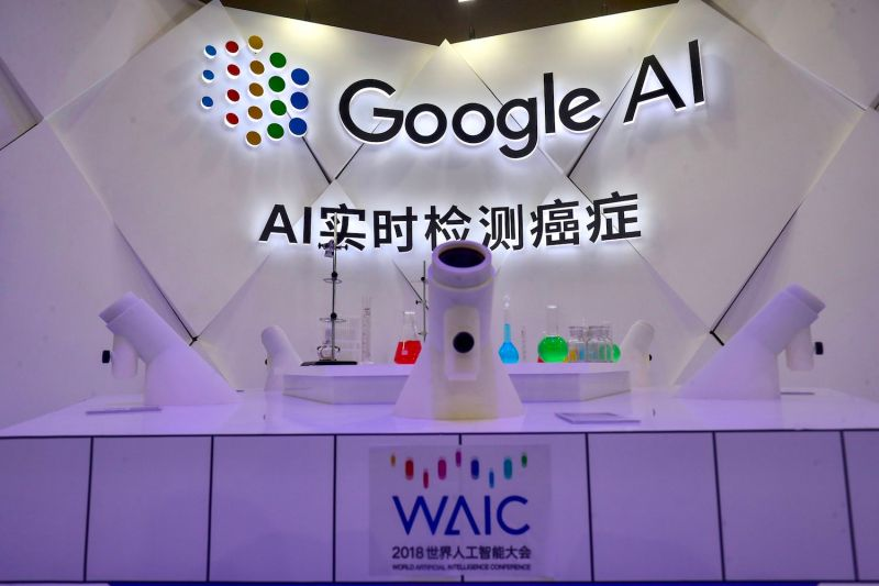 An AI cancer detection microscope by Google is seen during the World Artificial Intelligence Conference 2018 in Shanghai on September 18, 2018.