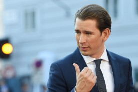 Sebastian Kurz arrives at the Mozarteum University to attend a plenary session part of the EU Informal Summit of Heads of State or Government in Salzburg, Austria, on Sept. 20, 2018.