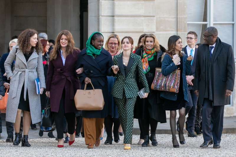 Assia Benziane (from left), Marlène Schiappa, Aissata Lam, Emma Watson, Lisa Azuelos, and Denis Mukwege arrive at the first meeting for the G-7 advisory committee for equality between women and men at the Élysée Palace in Paris on Feb. 19.