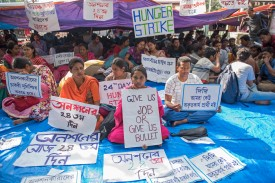 Indian students protest joblessness during a hunger strike in Kolkata on March 23.
