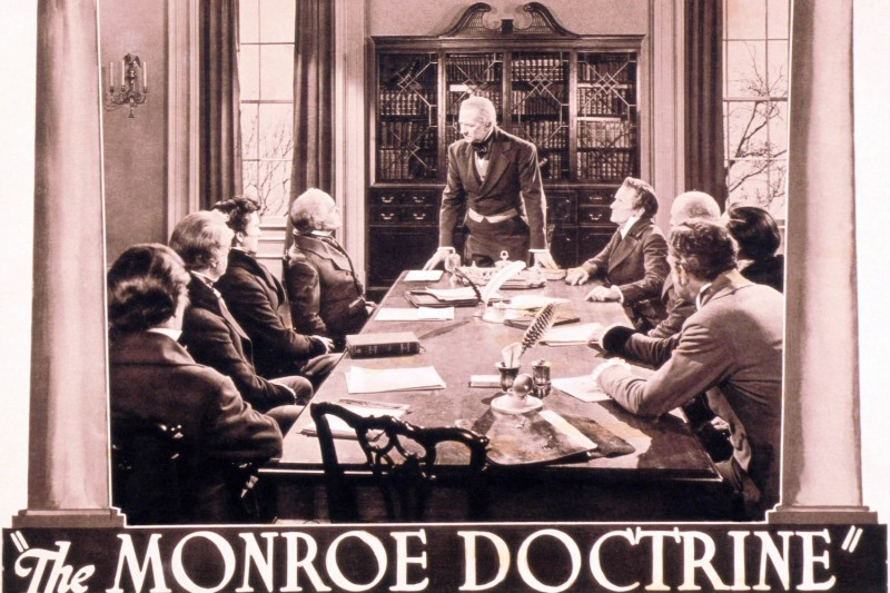 A poster for The Monroe Doctrine, a 1939 film starring Charles Waldron as James Monroe.
