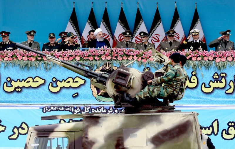 Iranian President Hassan Rouhani attends a military parade marking the country's annual Army Day in Tehran on April 18.