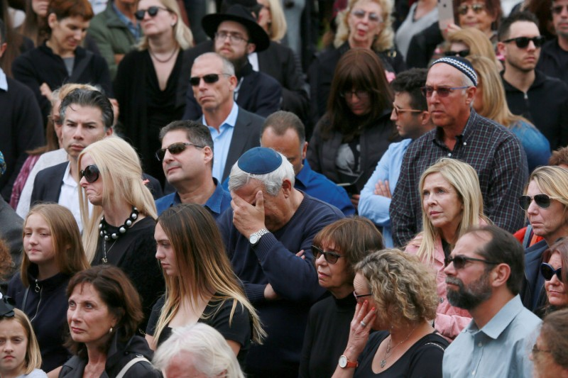 Congregants and other members of the public attend a funeral service at the Chabad of Poway Synagogue for Lori Gilbert-Kaye, who was killed in a shooting during a service there on April 29, in Poway, California.