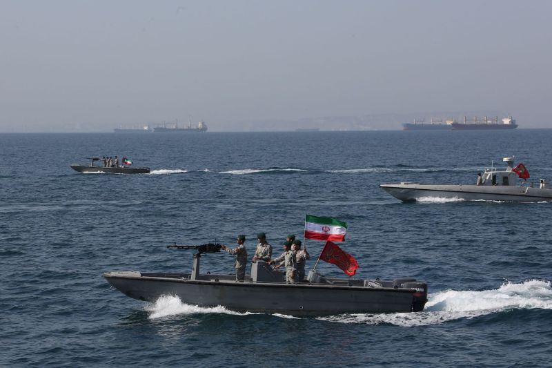 Iranian troops in the Strait of Hormuz celebrate National Persian Gulf Day on April 30.