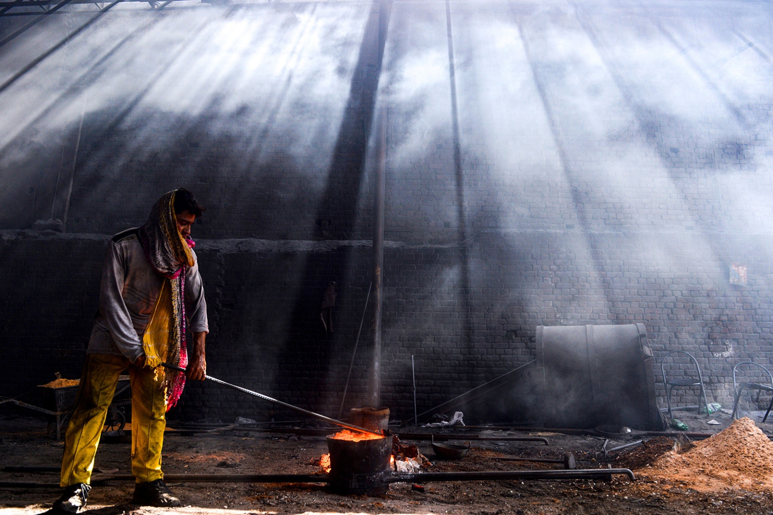 A Pakistani laborer works at an iron factory in Lahore on April 30 on the eve of the International Labor Day celebrated on May 1. ARIF ALI/AFP/Getty Images