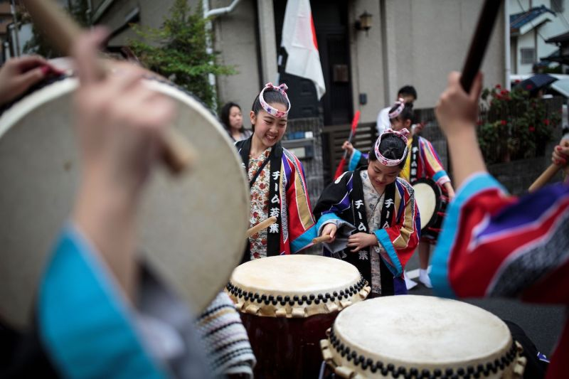 People play drums during a ceremony to celebrate the accession to the throne of the new emperor in Tokyo on May 1.