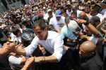 Venezuelan opposition leader Juan Guaidó arrives at a demonstration at Avenida Francisco de Miranda on May 1 in Caracas.
