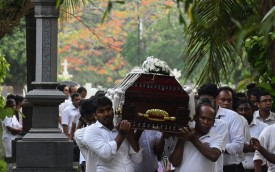 Relatives carry the coffin of a bomb blast victim for a burial ceremony at a cemetery in Colombo, Sri Lanka, on May 2.