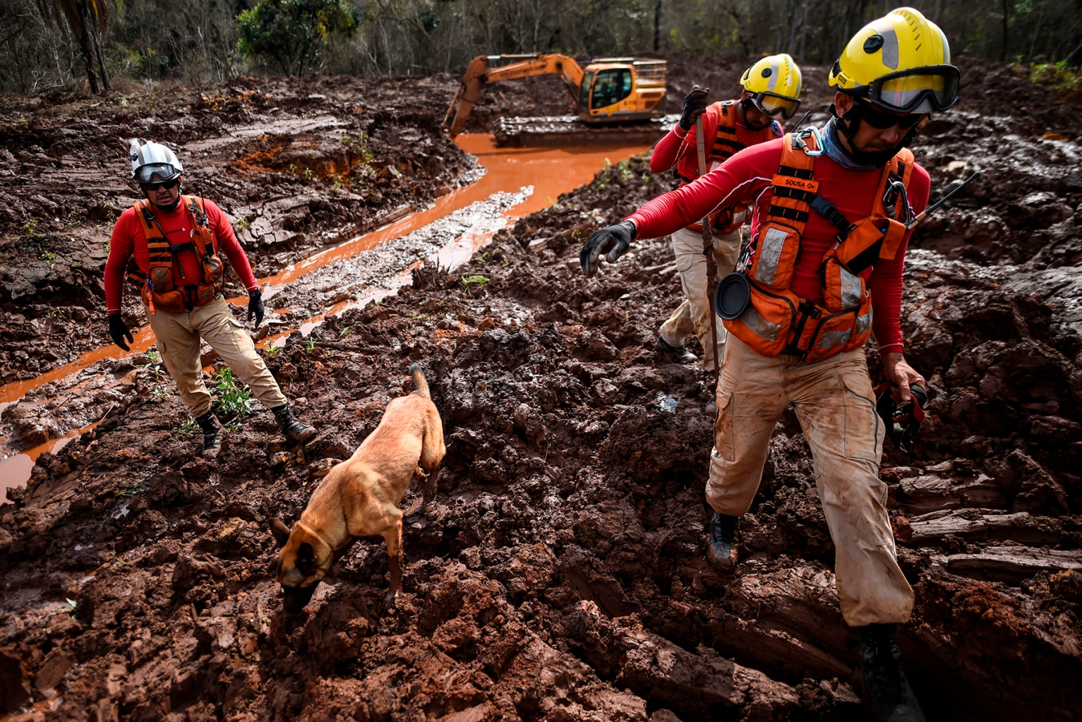 A dog locates bodies as emergency crews continue the slow process of picking through mud looking for bodies, 99 days after the collapse of the Corrego do Feijao dam of mining company Vale in Brumadinho, Minas Gerais State, Brazil, on May 3. DOUGLAS MAGNO/AFP/Getty Images