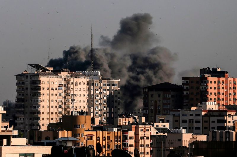 Smoke billows from a targeted neighborhood in Gaza City during an Israeli airstrike on the Hamas-run Palestinian enclave on May 5.