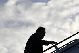 U.S. Secretary of State Mike Pompeo boards a plane before departing London Stansted Airport on May 9, 2019.