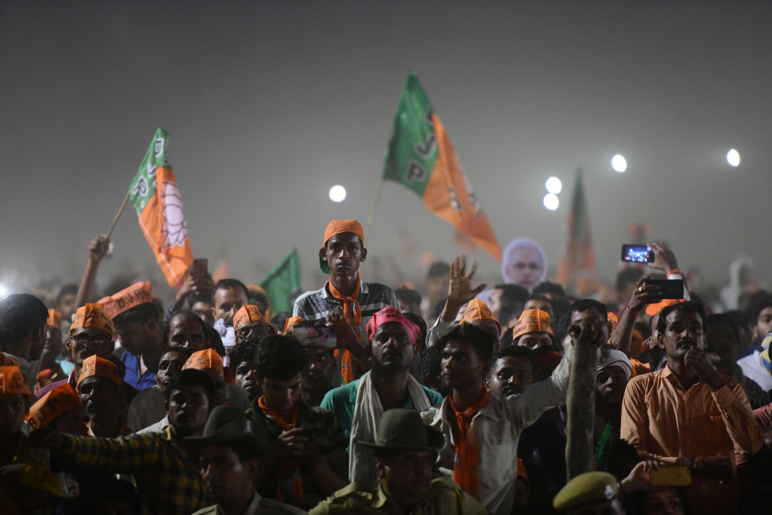 Bharatiya Janata Party supporters attend a rally as Indian Prime Minister Narendra Modi delivers a speech ahead of Phase VI of India's general election in Allahabad on May 9. SANJAY KANOJIA/AFP/Getty Images