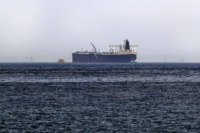 A picture taken on May 13, 2019, shows the crude oil tanker, Amjad, which was one of two Saudi tankers that were damaged in mysterious attacks off the coast of the Gulf emirate of Fujairah.