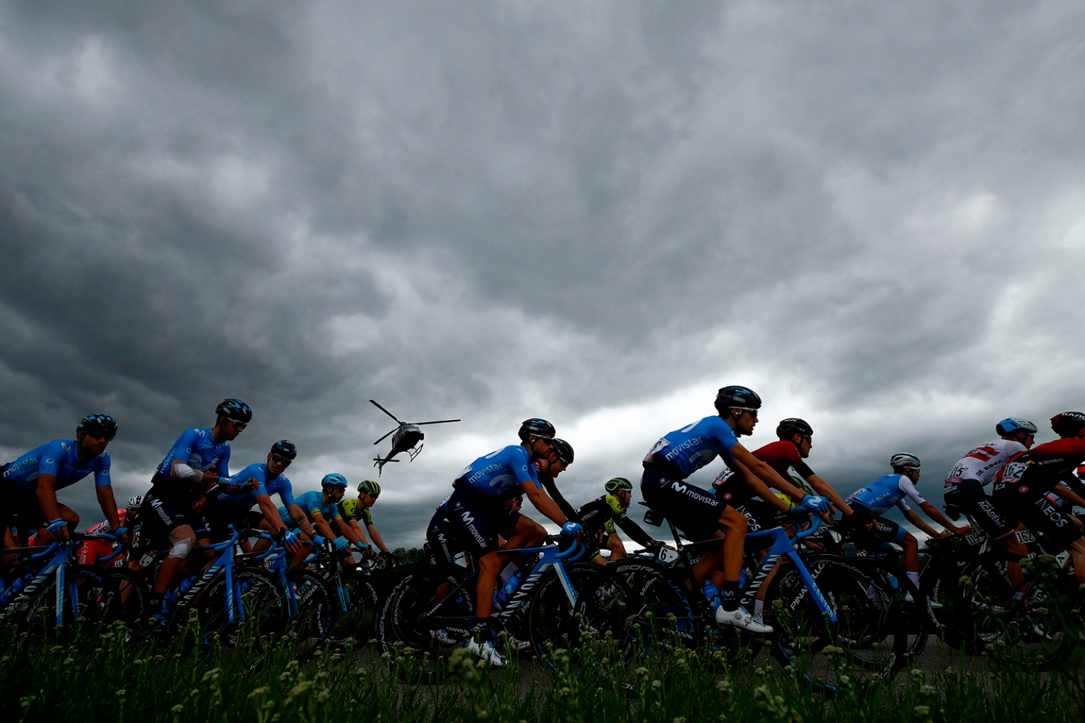 Riders compete during stage three of the 102nd Giro d'Italia—Tour of Italy—cycle race from Vinci to Orbetello on May 13. LUK BENIES/AFP/Getty Images
