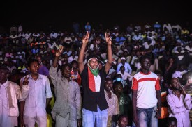 Sudanese protesters gather for a sit-in outside military headquarters in Khartoum on May 15.
