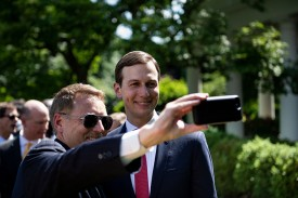 Senior advisor Jared Kushner poses for a selfie in the White House Rose on May 16.