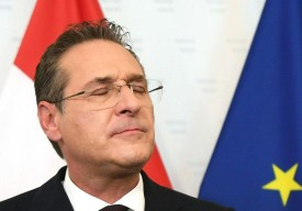 Former chairman of the Freedom Party FPOe Heinz-Christian Strache gives a press conference in Vienna on May 18, 2019.