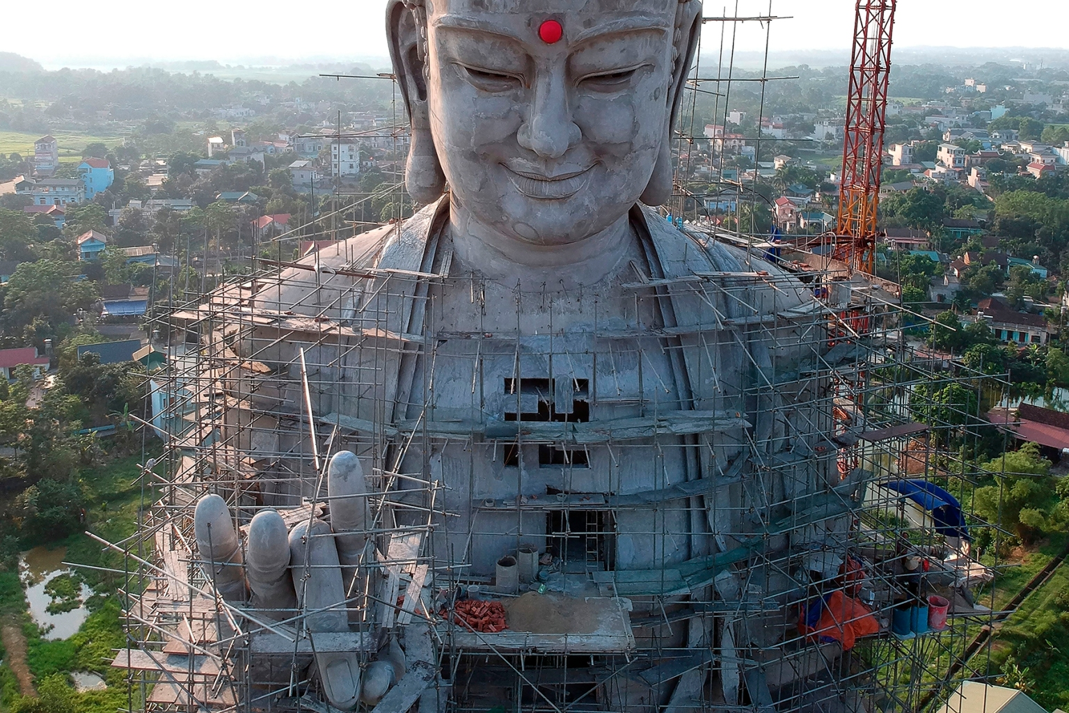 A giant Buddha statue is under construction at Khai Nguyen pagoda on the outskirts of Hanoi on May 18 on the eve of Vesak Day or the Buddha Day festival. MANAN VATSYAYANA/AFP/Getty Images