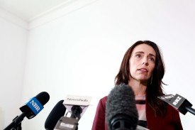 New Zealand Prime Minister Jacinda Ardern speaks to the media on April 24 in Auckland.