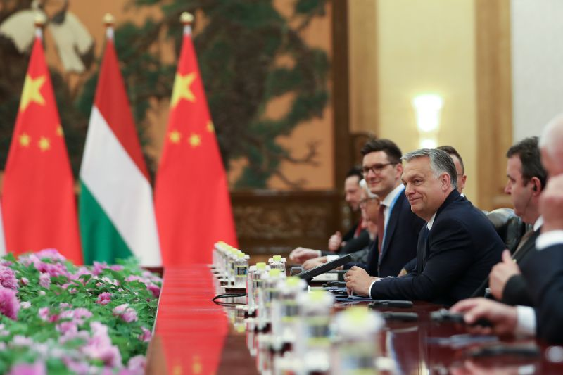 Hungarian Prime Minister Viktor Orban speaks to Chinese President Xi Jinping during a bilateral meeting of the Second Belt and Road Forum in Beijing on April 25.