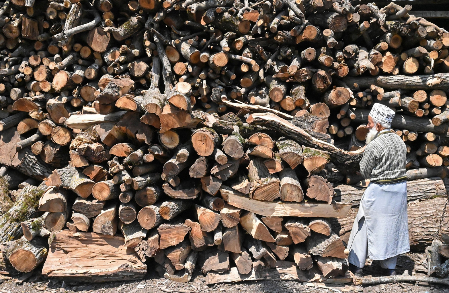 An elderly Kashmiri man stands next to a large pile of firewood in Srinagar on May 21. TAUSEEF MUSTAFA/AFP/Getty Images