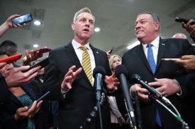 Acting Defense Secretary Patrick Shanahan and Secretary of State Mike Pompeo briefed lawmakers on the Iran threat, May 21, 2019.
