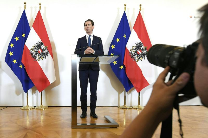Austrian Chancellor Sebastian Kurz delivers a statement in Vienna on May 22.