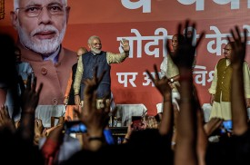 Narendra Modi delivers a victory speech at the BJP party headquarters in New Delhi, India.