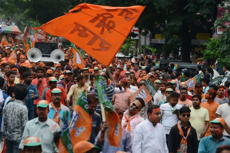 In Hyderabad, India, supporters of Bharatiya Janata Party (BJP) join in a celebration rally on May 24.