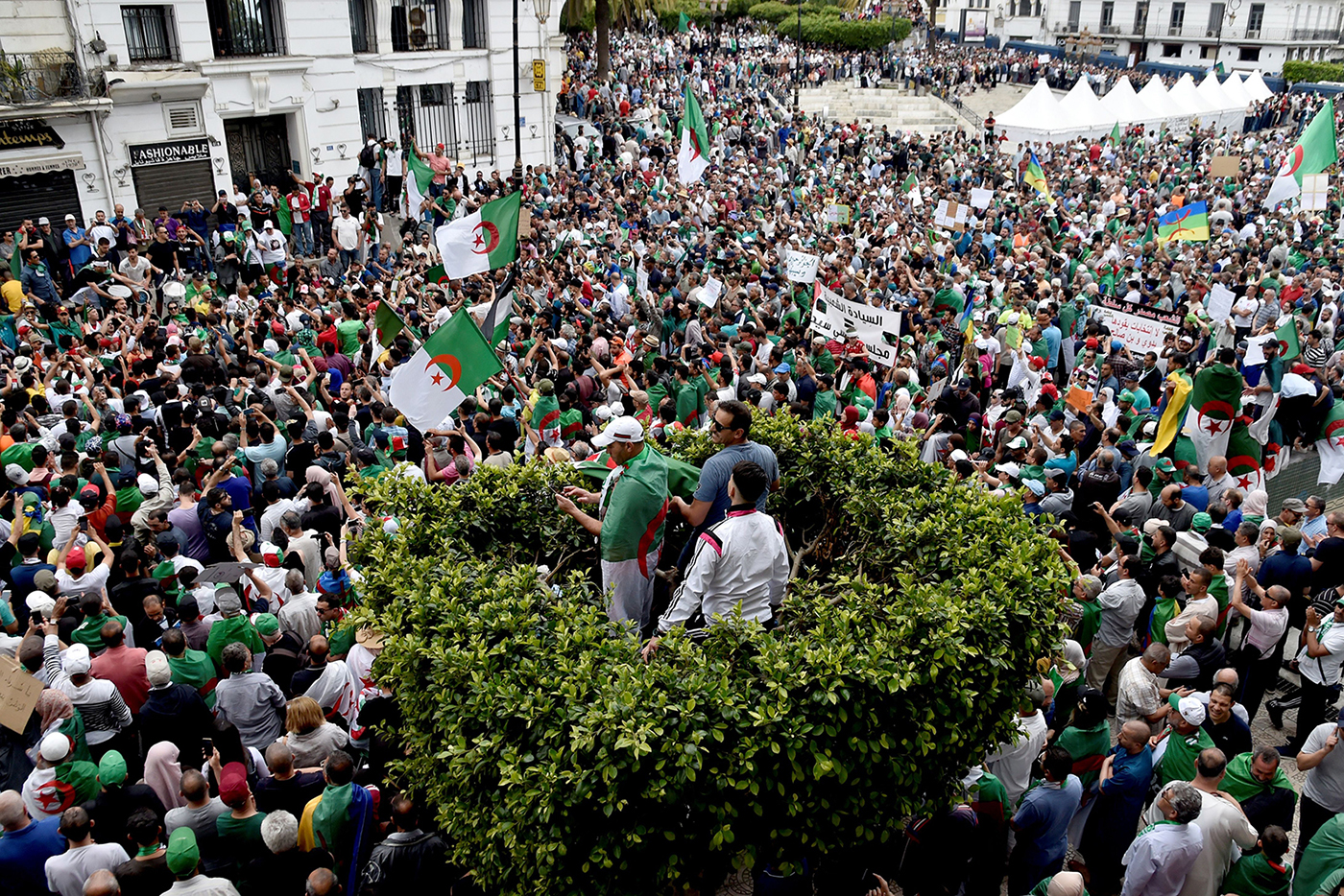 Algerian protesters shout slogans during an anti-government demonstration in the capital Algiers on May 24. RYAD KRAMDI/AFP/Getty Images