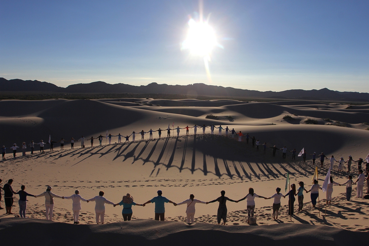 People attend a yoga class in the Samalayuca Dune Fields in the municipality of Juarez, Chihuahua State, Mexico, on May 25. HERIKA MARTINEZ/AFP/Getty Images