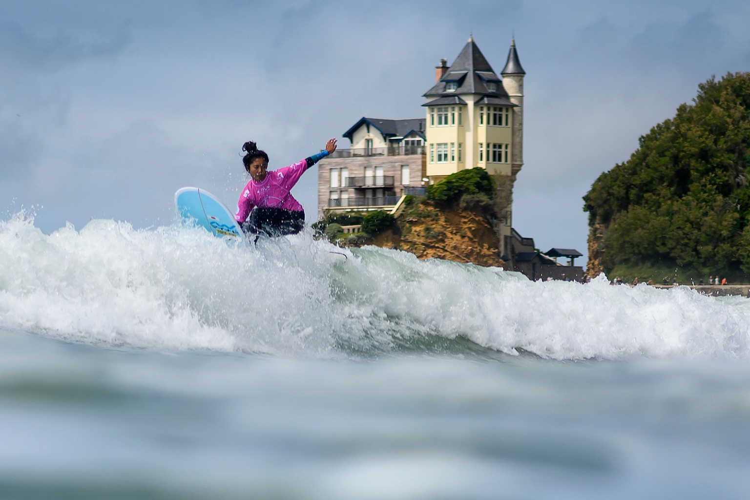 Japan's Natsumi Taoka rides a wave during the Longboard Surfing World Championships in Biarritz, southern France, on May 26. OLIVIER MORIN/AFP/Getty Images