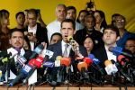 Venezuelan opposition leader Juan Guaidó speaks during a press conference on May 03, in Caracas, Venezuela.
