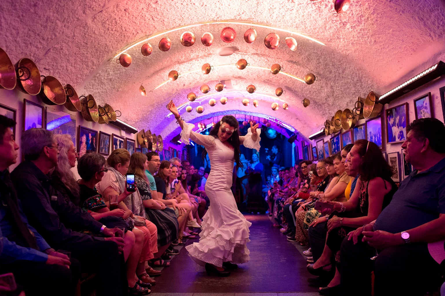 A gypsy flamenco dancer performs a Zambra dance for tourists in the Cueva de la Rocio at Sacromonte neighbourhood in Granada on May 30. JORGE GUERRERO/AFP/Getty Images