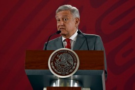 Mexican President Andrés Manuel López Obrador speaks at the National Palace in Mexico City on May 31.