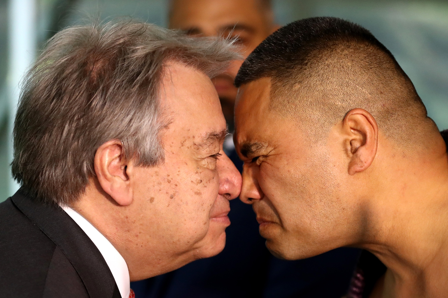 United Nations Secretary-General Antonio Guterres receives a hongi greeting from a Maori warrior at Government House on in Auckland, New Zealand on May 12. The two-day visit to New Zealand was part of a broader visit to the Pacific region and is Guterres' first visit as UN Secretary-General. Hannah Peters/Getty Images