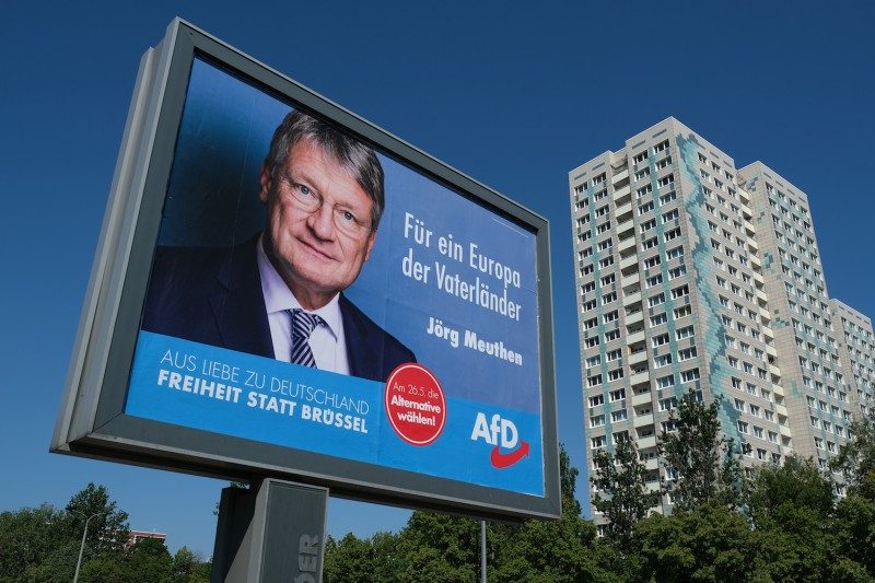 A campaign billboard for the far-right Alternative for Germany (AFD) in eastern Berlin on May 17. Europeans vote this week for a new Parliament, with strong gains expected for extreme right-wing parties.