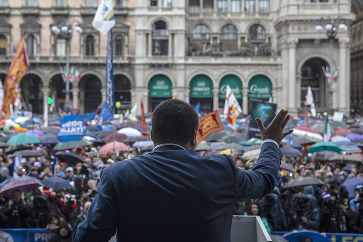 Matteo Salvini, leader of the Italian Lega party, delivers a speech during a nationalist rally on May 18, ahead of EU Parliament elections.