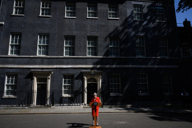 Prime Minister Theresa May makes a statement outside 10 Downing Street on May 24, 2019 in London, England.