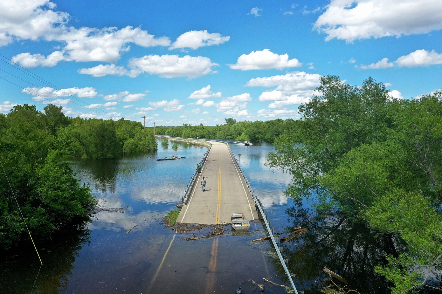 Floodwaters from the Mississippi River cut off the roadway from Missouri into Illinois at the state's border in Saint Mary, Missouri, on May 30. Scott Olson/Getty Images