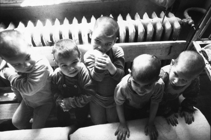 Romanian orphans in a Bucharest orphanage shortly after the December Revolution in 1989.