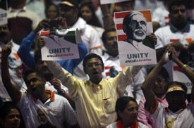 A crowd of US-based supporters await the arrival of Prime Minister Narendra Modi of India for a community reception September 28, 2014 at Madison Square Garden in New York.