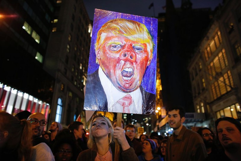A poster from a protest against President Donald Trump in New York City on Nov. 9, 2016.
