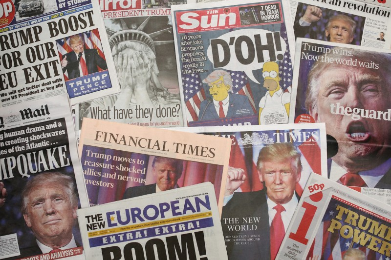 British newspapers show U.S. Republican candidate and President-elect Donald Trump on their front pages the day after he was announced the winner in U.S. presidential elections on Nov. 9, 2016.