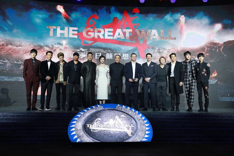 "Actor Chen Xuedong, actor Zheng Kai, singer and actor Lu Han, actor Zhang Hanyu, actor and singer Andy Lau, actress Jing Tian, director Zhang Yimou, American actor Matt Damon, Chilean-born American actor Pedro Pascal, American actor Willem Dafoe, actor Eddie Peng, actor Lin Gengxin, singer and actor Wang Junkai attend the premiere of Zhang Yimou's film ""The Great Wall"" on December 6, 2016 in Beijing, China."