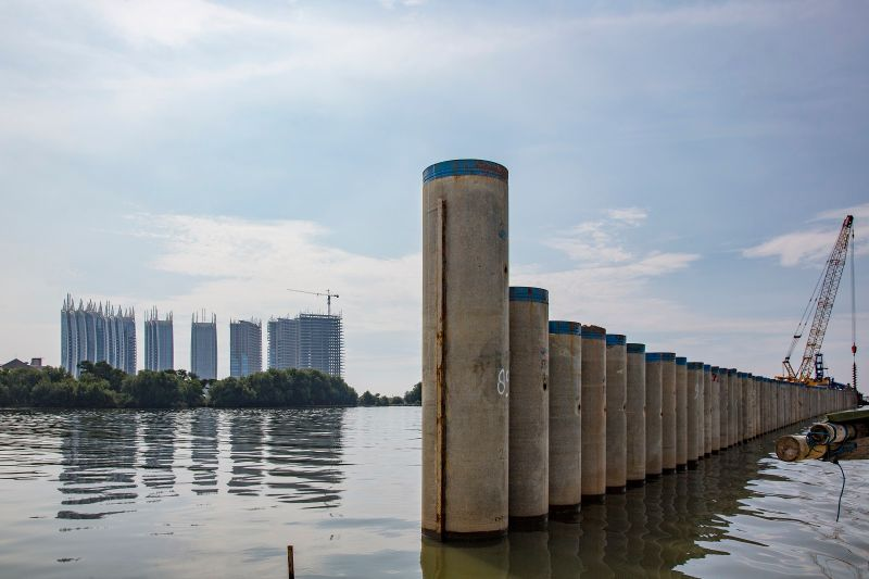 A section of newly constructed offshore seawall on April 27, 2017 in Jakarta, Indonesia.