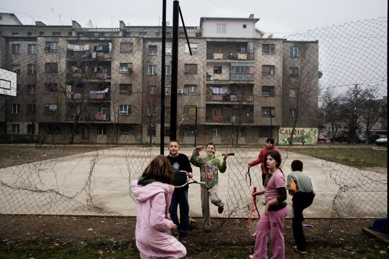 Serbian children play in the playground of the condominium where they live, on Nov. 24, 2007 in Mitrovica, Kosovo.