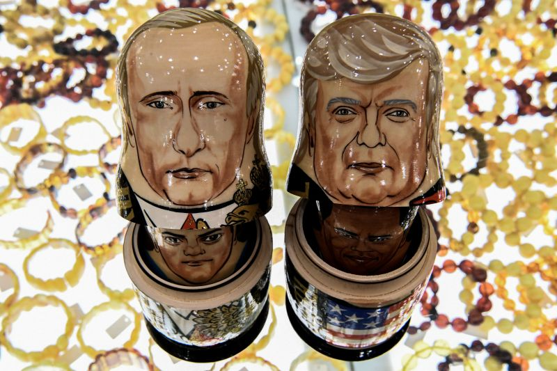 Traditional Russian wooden nesting dolls depicting U.S. President Donald Trump, right, and Russian President Vladimir Putin at a gift shop in central Moscow on July 6, 2017.